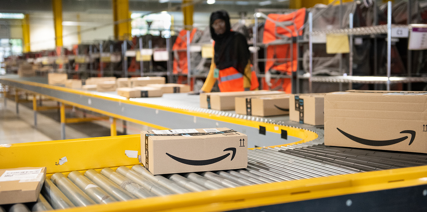 Parcels being processed at amazon warehouse