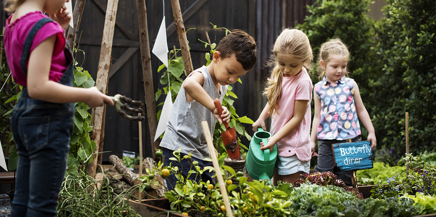 group of young people gardening