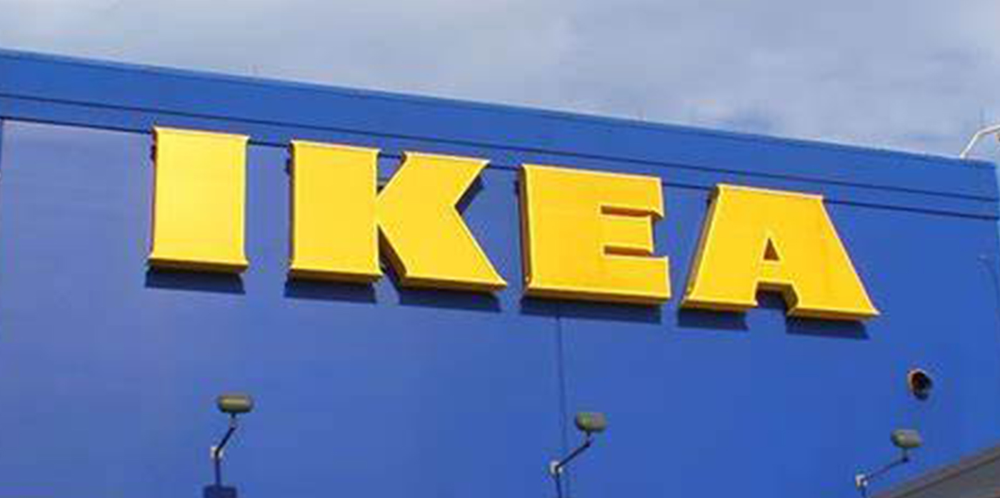 Ikea sign on outside of ikea building
