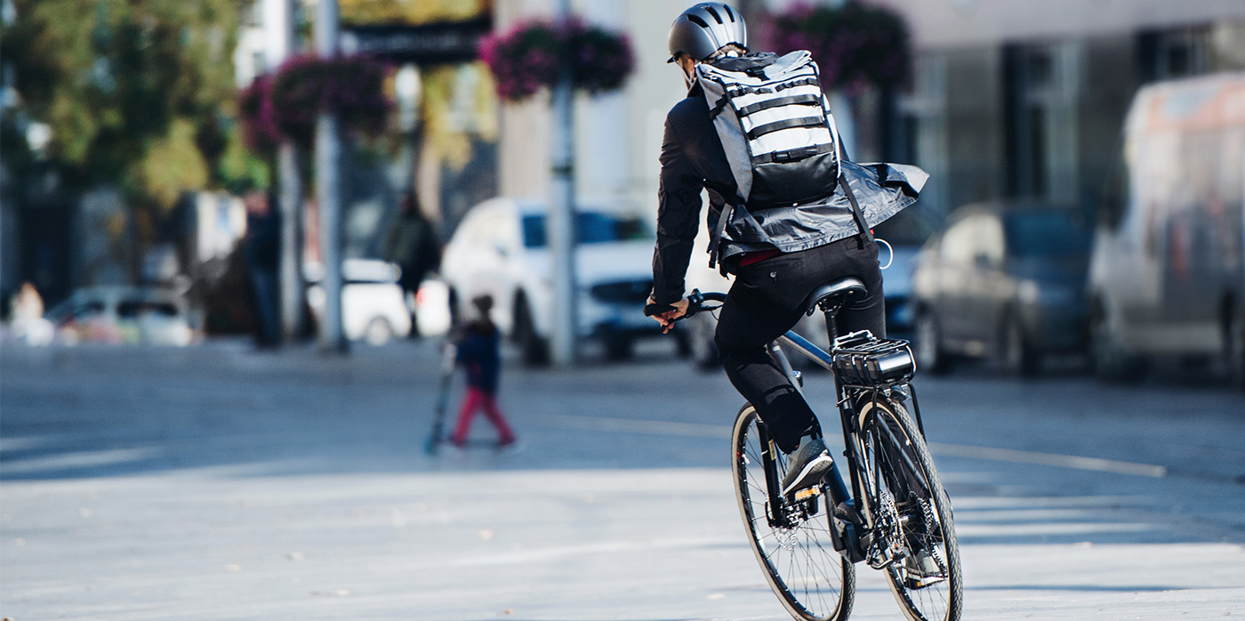 Person commuting on bicycle