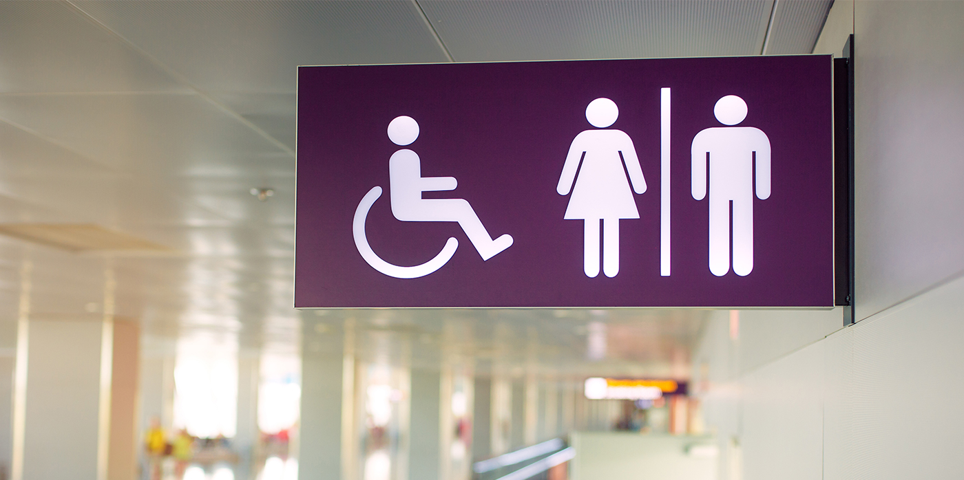 sign for disabled, womens and mens toiletts