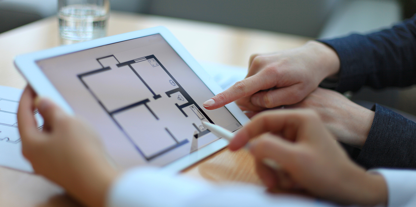 viewing an online floor plan of a building
